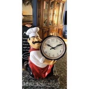 New Chef Sculpture Kitchen Wall Clock Home Decor